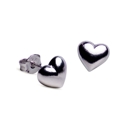 6MM Sterling Silver Heart Post Earrings | SilverAndGold