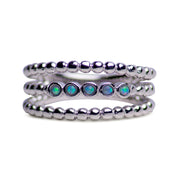 Sterling Silver Synthetic Opal 3 Strand Beaded Ring