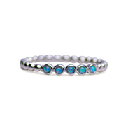 Sterling Silver Synthetic Opal Beaded Stackable Ring
