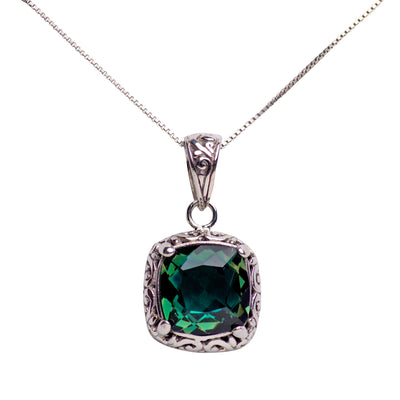 Square Emerald Quartz and Sterling Silver Pendant Necklace