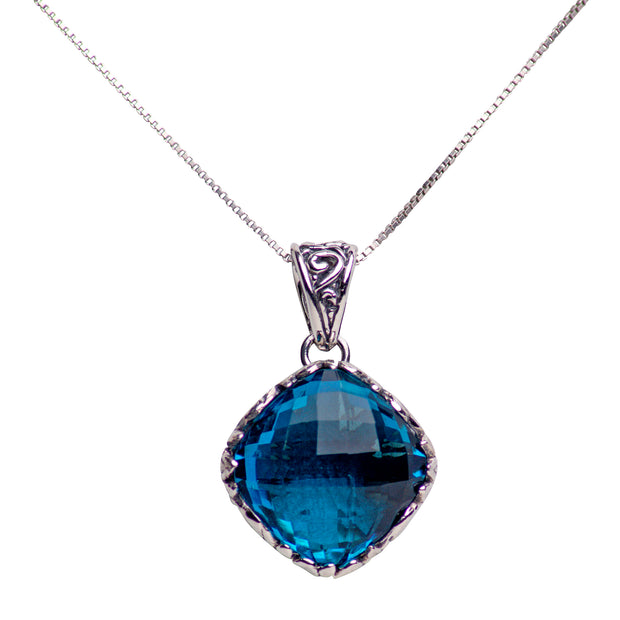 Diamond Shaped Blue Topaz Quartz and Sterling Silver Pendant Necklace