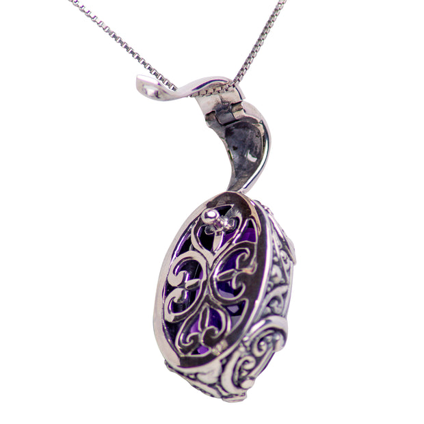 Oval Deep Purple Amethyst Quartz and Sterling Silver Hinged Pendant Necklace
