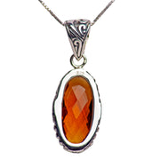 Oval Citrine Quartz and Sterling Silver Pendant Necklace