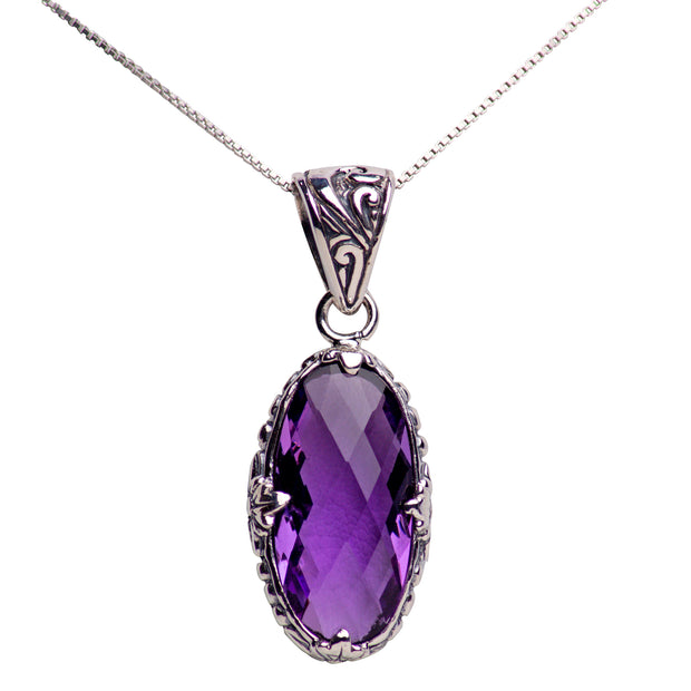 Oval Amethyst Quartz and Sterling Silver Pendant Necklace
