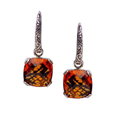 Square Citrine Quartz and Sterling Silver Dangle Earrings