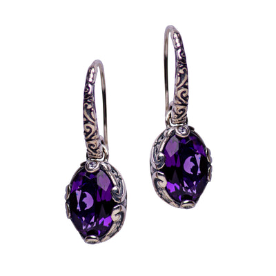 Oval Deep Amethyst Quartz and Sterling Silver Dangle Earrings