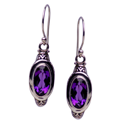 Oval Amethyst Quartz and Sterling Silver Dangle Earrings