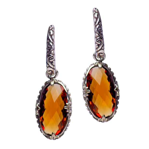 Floral Oval Citrine Quartz and Sterling Silver Dangle Earrings