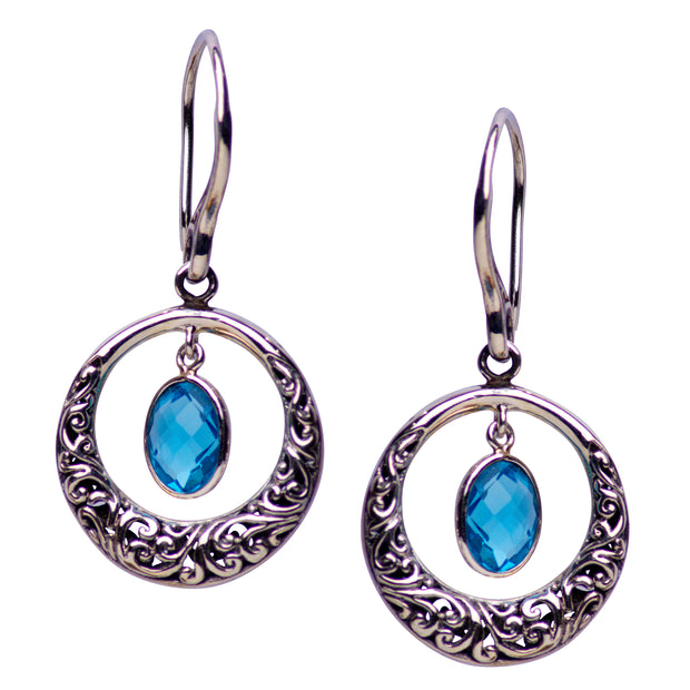 Halo Design Blue Topaz Quartz and Sterling Silver Dangle Earrings