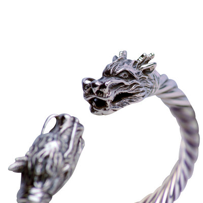 Wearable Art Artistic Double-Dragon Head Hinged Bracelet - in Sterling Silver