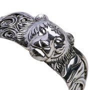 Wearable Art: Sterling Silver Tiger's Head Cuff Bracelet - Hand Applied Patina