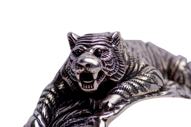 Hand Made Artistic Crouching Tiger Hinged Cuff Bracelet - in Sterling Silver