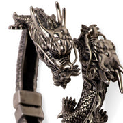 Wearable Art: Artistic Double-Dragon Head Hinged Bracelet - in Sterling Silver