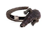 Hand Made Artistic Alligator Hinged Cuff Bracelet - in Sterling Silver