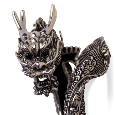 Wearable Art: Artistic Spectacular Dragon Hinged Bracelet - in Sterling Silver