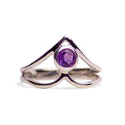 V Shaped Amethyst and Sterling Silver Ring