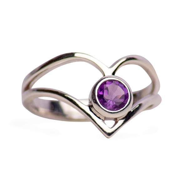 1.79 tcw Heart Shape Purple Amethyst /& CZ Diamond 14 White Gold Plated Engagement Wedding Ring
