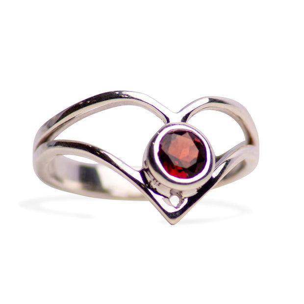 V Shaped Garnet and Sterling Silver Ring
