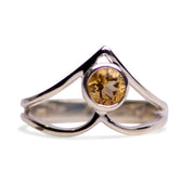 V Shaped Citrine and Sterling Silver Ring