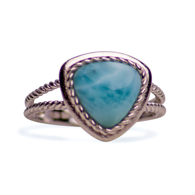 Larimar Solitaire Twist Sterling Silver Ring