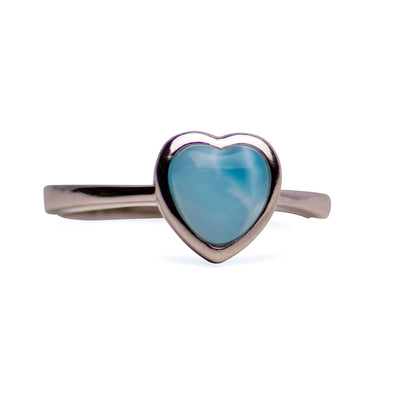 Larimar Heart Sterling Silver Ring