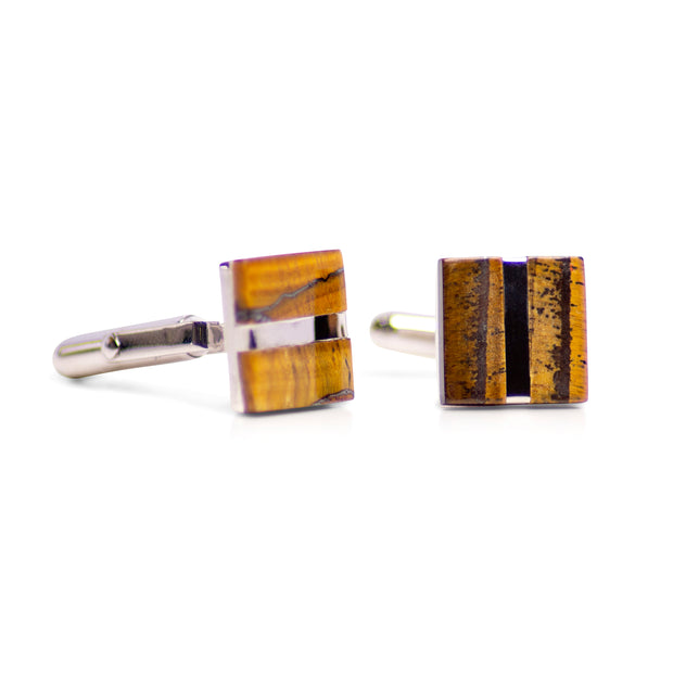 Square Tiger Eye & Rhodium Plated Sterling Silver Cufflinks