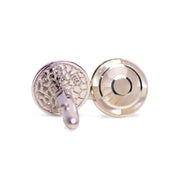 Bull's-Eye (Bullesye) Style Genuine White Mother of Pearl Rhodium Plated Sterling Silver Cufflinks