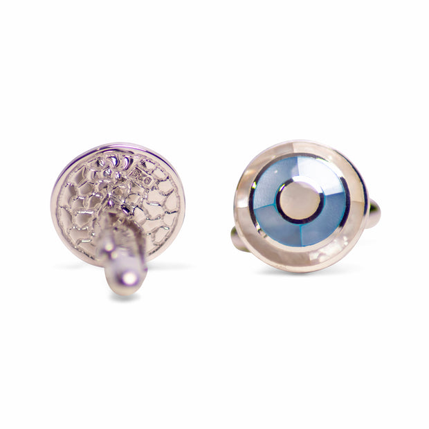 Bull's-Eye (Bullseye) Style Blue & White Mother of Pearl Rhodium Plated Sterling Silver Cufflinks