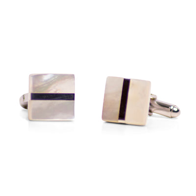 Square White Mother of Pearl & Rhodium Plated Sterling Silver Cufflinks