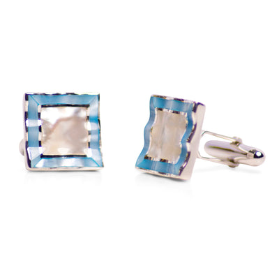 Square Blue & White Mother of Pearl & Rhodium Plated Sterling Silver Cufflinks