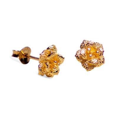 Blooming Floral 18K Yellow Gold Plated Sterling Silver Stud Earrings