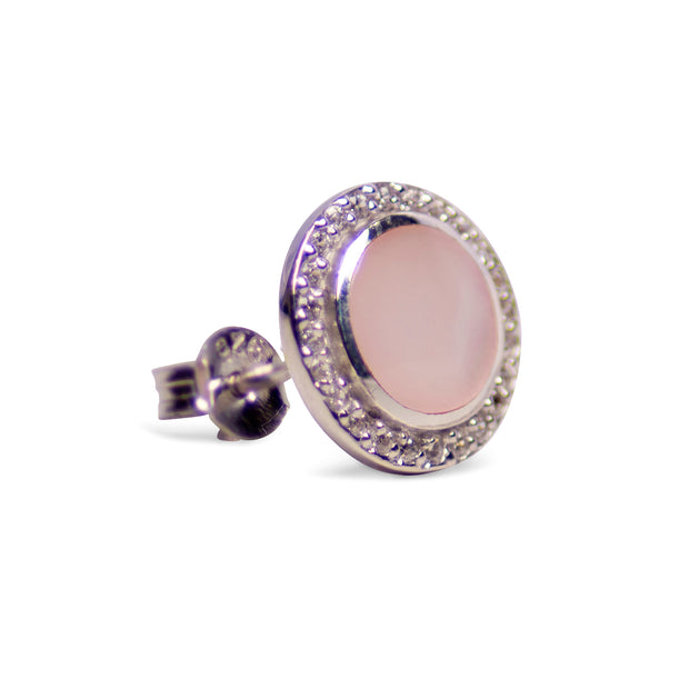 Pink Mother of Pearl & Cubic Zirconia Earrings Set in Rhodium Plated Sterling Silver