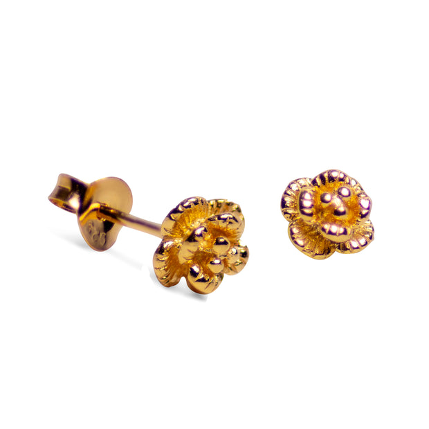 Petite Floral 18K Yellow Gold Plated Sterling Silver Stud Earrings