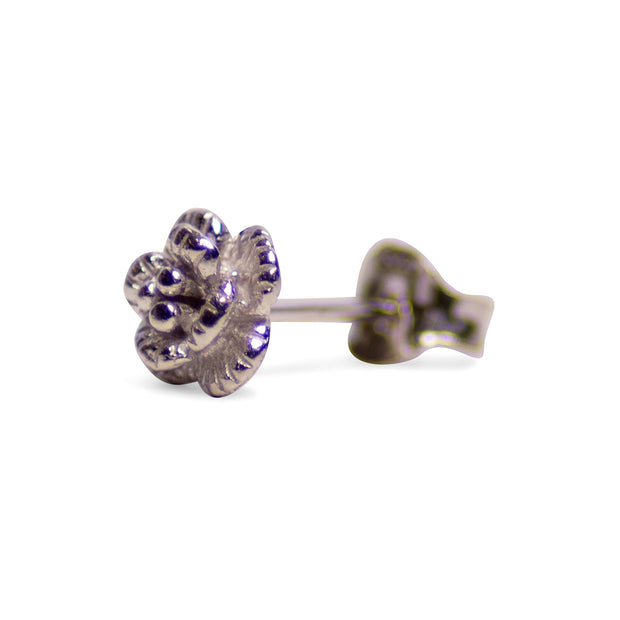 Petite Floral Rhodium Plated Sterling Silver Stud Earrings