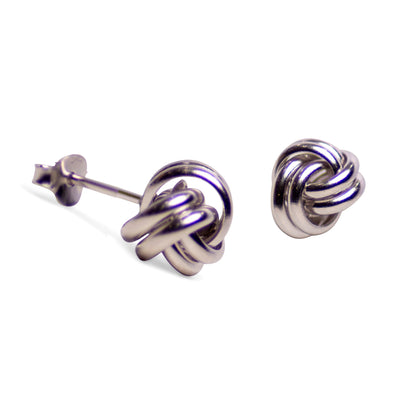 Classic Rhodium Over Sterling Silver Love Knot Earrings
