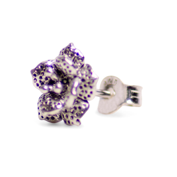 Blooming Floral Oxidized Sterling Silver Stud Earrings
