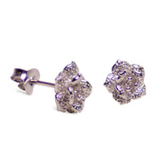 Blooming Floral Rhodium Plated Sterling Silver Stud Earrings