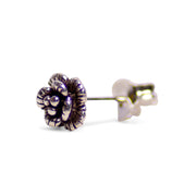 Petite Floral Oxidized Sterling Silver Stud Earrings