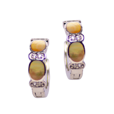 Gold Mother of Pearl & Cubic Zirconia Miniature Hoop Earrings in Rhodium Plated Sterling Silver