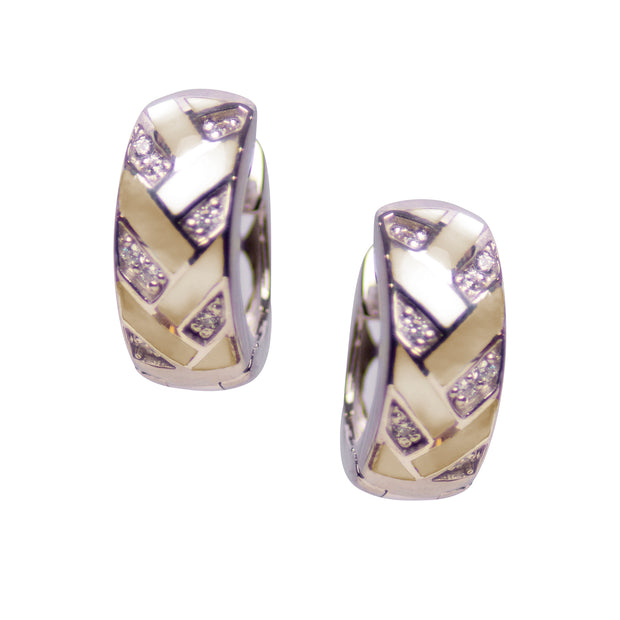 Patterned Gold Mother of Pearl & Cubic Zirconia Miniature Hoop Earrings in Rhodium Plated Sterling Silver