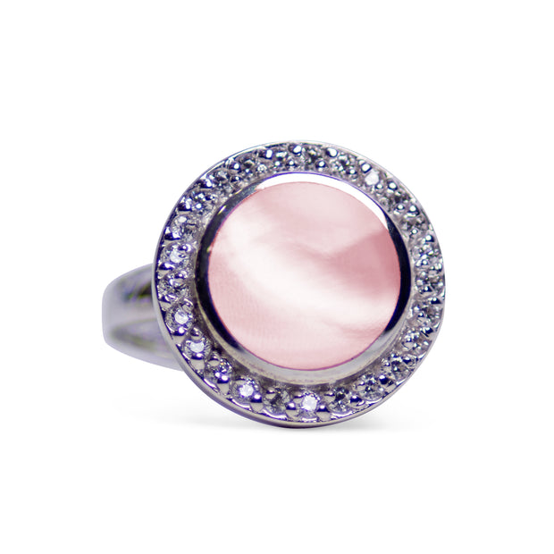Pink Mother of Pearl & Cubic Zirconia Halo Ring | SilverAndGold