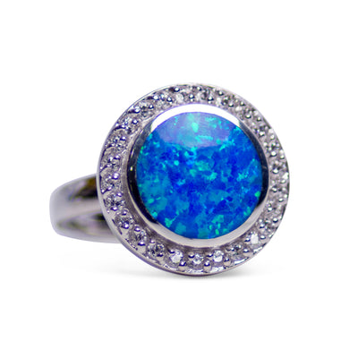 Created Blue Opal & Cubic Zirconia Halo Style Ring | SilverAndGold