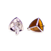 Triangular Tiger Eye Rhodium Plated Sterling Silver Cufflinks