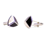 Tri-Color Mother of Pearl, Abalone, & Onyx Cufflinks