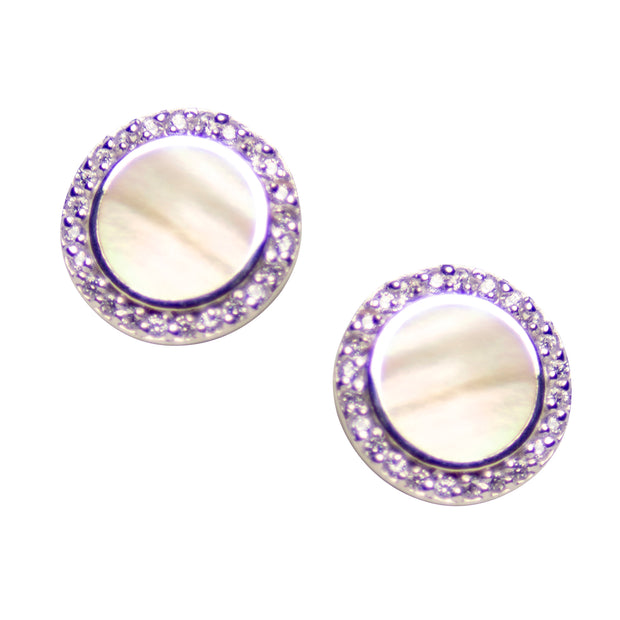 Gold Mother of Pearl & Diamond Simulant Earrings Set in Rhodium Over Sterling Silver
