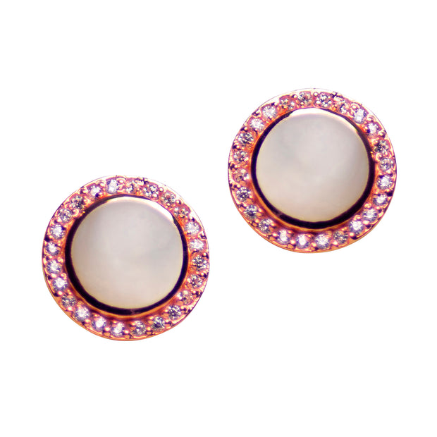 White Mother of Pearl & Cubic Diamond Simulant Set in 18K Rose Gold Over Sterling Silver