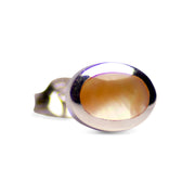 Oval Gold Mother of Pearl & Rhodium Over Sterling Silver Stud Earrings