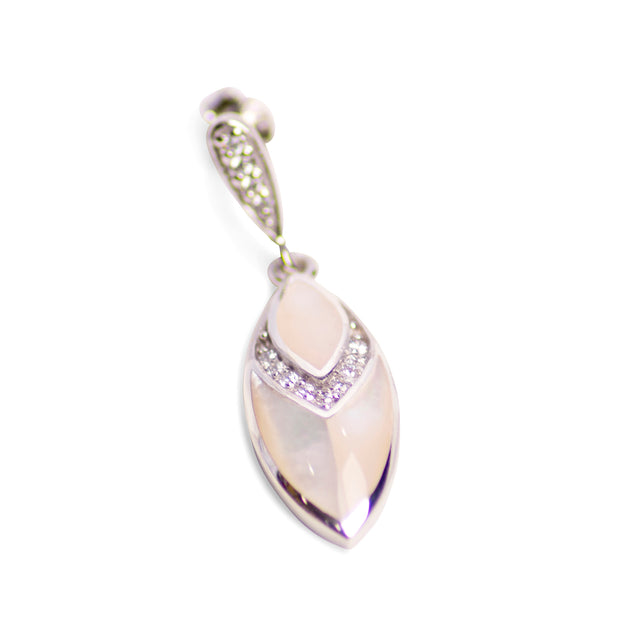 White Mother of Pearl & Cubic Zirconia Rhodium Plated Sterling Silver Marquise Drop Earrings
