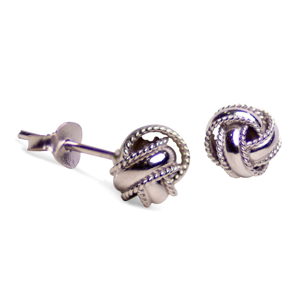 Rhodium Plated Sterling Silver Love Knot Earrings with Twist Detail
