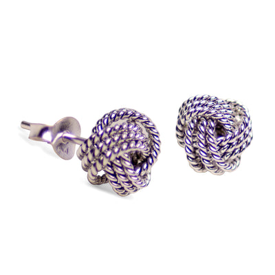 Rhodium Over Sterling Silver Love Knot Earrings
